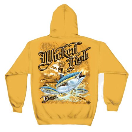 Wicked Fish Tuna Hooded Sweatshirt by , Yellow, L](Wicked Jester Hoodies)