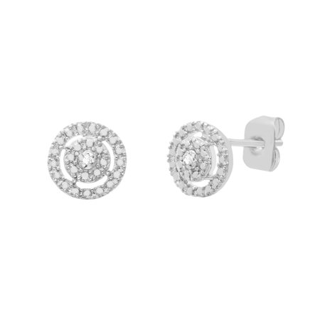 Ladies Diamond Accent Open Circle Post Earring in Rhodium Plated -