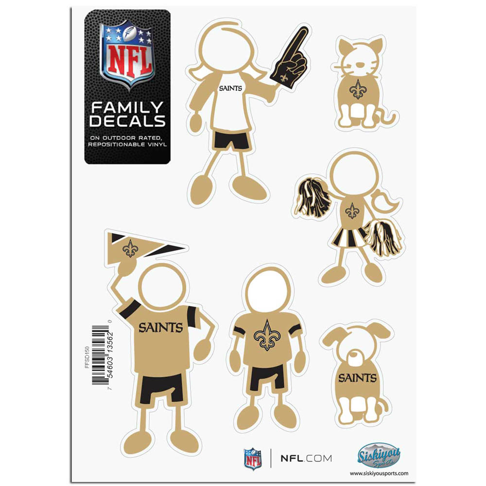 New Orleans Saints Official NFL Small Family Decal Set by Siskiyou 135620