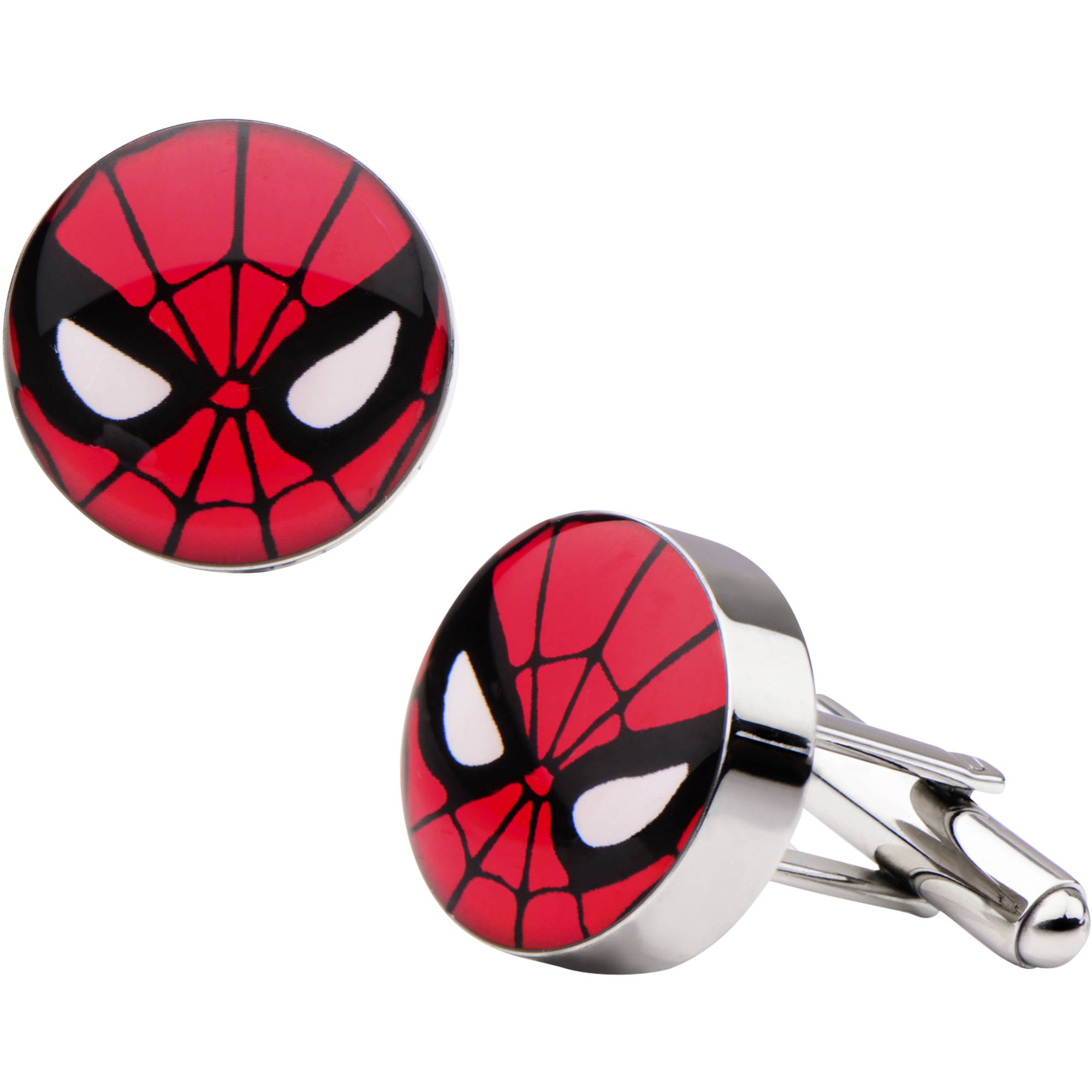 Marvel Men's Stainless Steel Spider-Man Face Printed Cufflinks