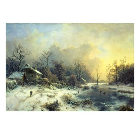 Winter Landscape with Frozen Pond, about 1850 Print Wall Art By August Piepenhagen (About Pond)