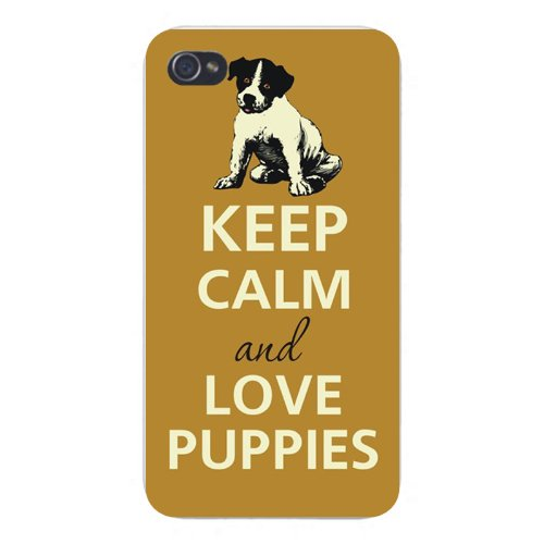 Apple Iphone Custom Case 4 4s White Plastic Snap on - Keep Calm and Love Puppies