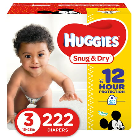 HUGGIES Snug & Dry Diapers, Size 3, 222 Count (Monkey Newborn Diapers)