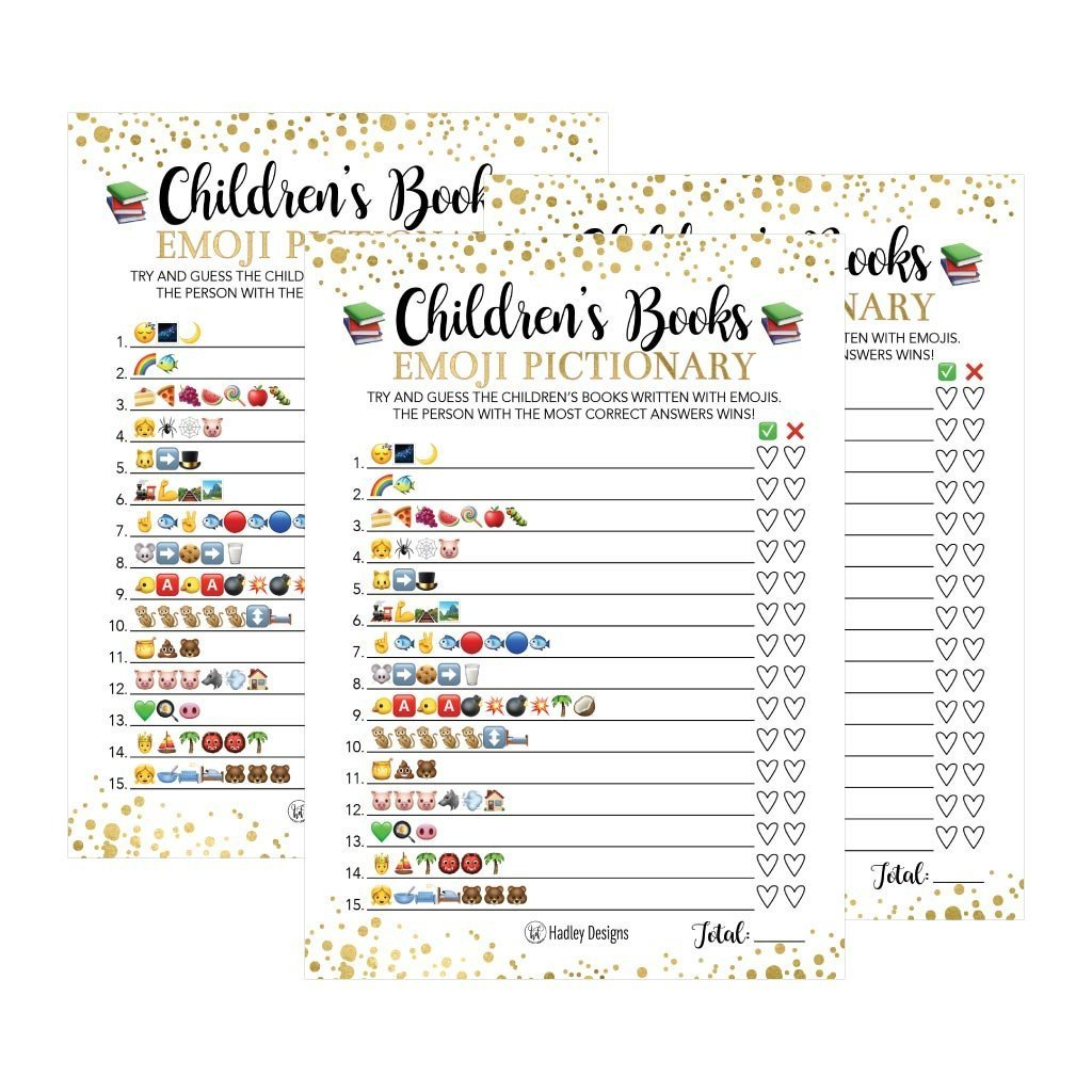 25 Emoji Children S Books Pictionary Baby Shower Game Party Ideas