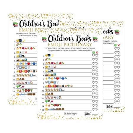 25 Emoji Children's Books Pictionary Baby Shower Game Party Ideas For Quiz Boy, Girl, Kids, Men, Women and Couples, Cute Classic Bundle Pack Set, Gold Pink or Blue Gender Neutral Unisex Fun Coed Cards - Baby Shower Menu Ideas