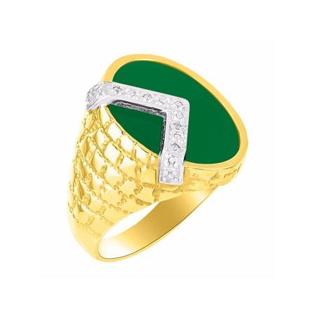 Diamond & Green Onyx Ring 14K Yellow Gold Nugget Designer MR3192GRY-CC