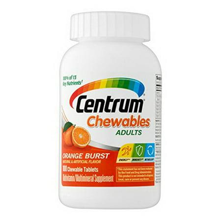 Centrum Adult Multivitamin And Multimineral Chewable Tablet Orange Burst Flavor, 100 Ea, 2 Pack