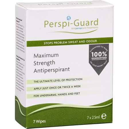 Perspi Guard Stops Problem Sweat and Odor, Maximum Strength Antiperspirant Wipes, for Underarms, Hands and Feet, 7 - Sweat Felt