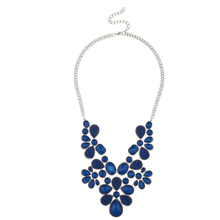 Lux Accessories Navy Blue Bib Statement Chain