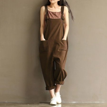 2bb1270b8a79 Asia Link - Women s Casual Loose Linen Pants Cotton Jumpsuit Strap ...