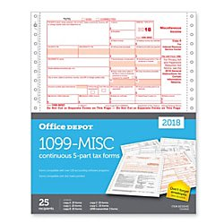 Office Depot® Brand 1099-MISC Continuous Tax Forms, 5-Part, 9