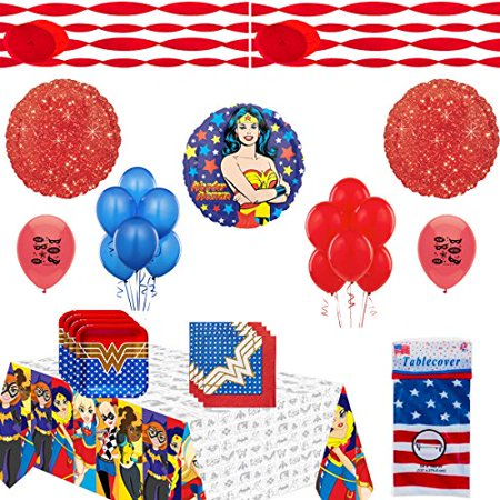 Wonder Woman Party Supplies and Balloon Decoration Bundle - Wonder Woman Decorations