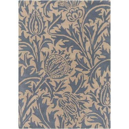 2' x 3' Dark Blue and Taupe Assorted Blossoms Wool Area Rug