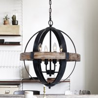 Parrot Uncle Farmhouse Weathered Oak Wooden 4-Light Orb Chandelier