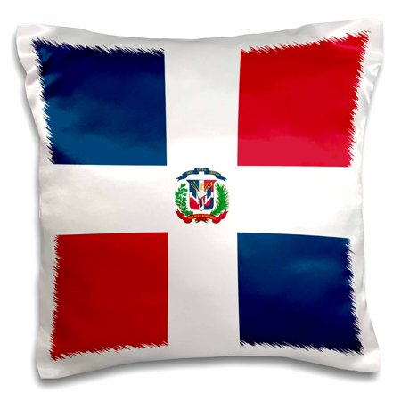 3dRose Flag of the Dominican Republic - navy blue and red squares with white cross - coat of arms shield - Pillow Case, 16 by 16-inch