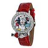 Disney #MCKAQ1268 Girl's Loving Couple Mickey and Minnie Mouse Rhinestone Charm Red Leather Strap Watch