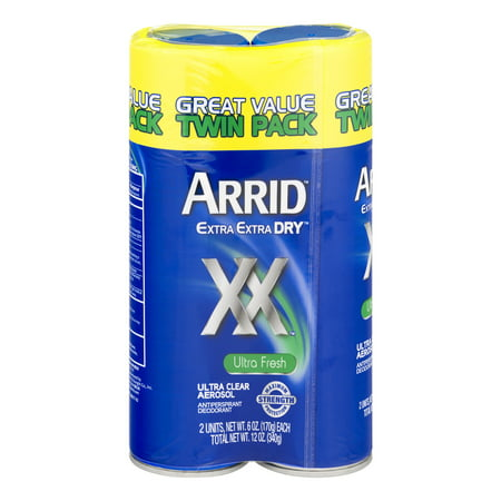(4 count) Arrid Extra Extra Dry Aerosol Antiperspirant Deodorant, 6.0 OZ, 2 Twin Packs