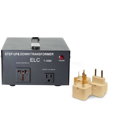 3000 Watt Best International Power Voltage Converter Transformer - Step Up/Down - 110V/220V - With Worldwide UK/US/AU/EU European Plug Adapter - 2 (B&w Pv1d Best Price)