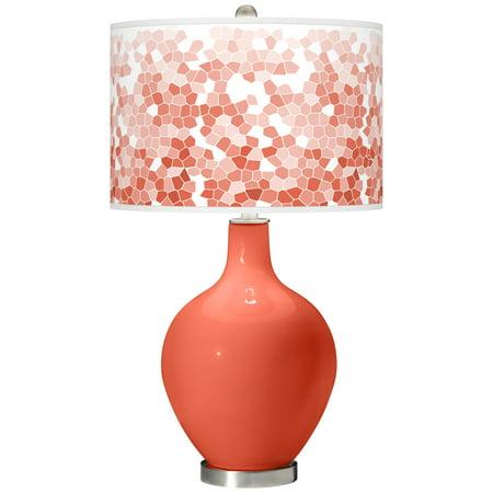 Color + Plus Daring Orange Mosaic Giclee Ovo Table Lamp