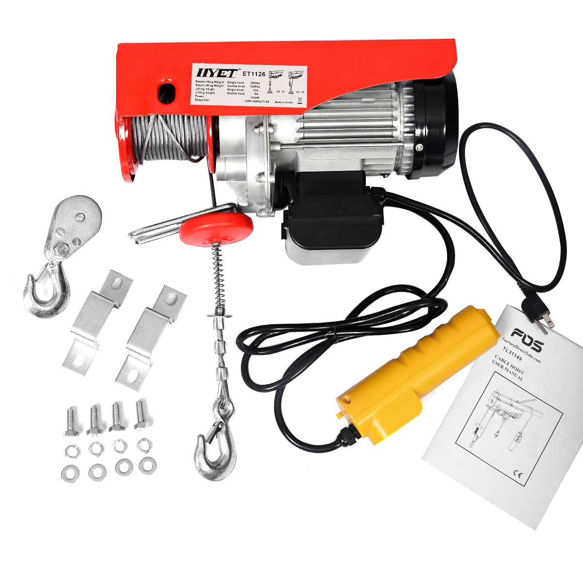Other Cranes & Hoists 1320Lbs Mini Electric Wire Hoist Remote ...
