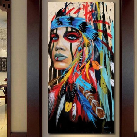 Lake Oil Painting (Abstract Indian Woman Canvas Oil Painting Print Picture Home Wall Art Decor no frame )