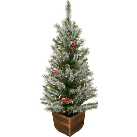 Pre-Lit 4\' Alpine Entryway Frosted Artificial Christmas Tree with ...