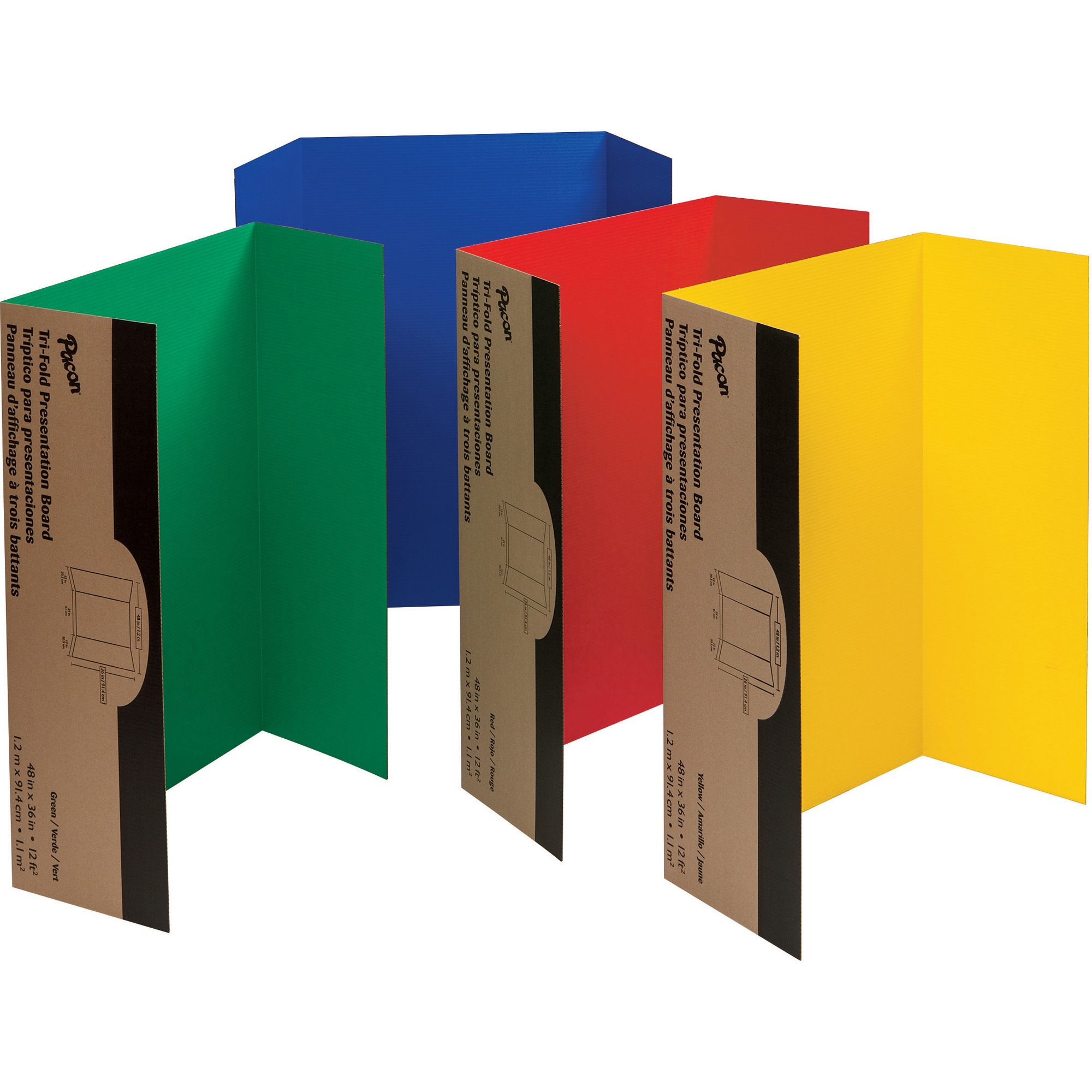 "Pacon Tri-Fold Corrugated Presentation Display Boards, 48"" x 36"", Assorted Colors, 4/Carton"