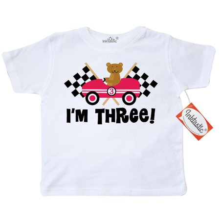 Inktastic 3Rd Birthday Racing Car Toddler T Shirt Race Rally Flags Third 3 Year Old Three Auto Racer Animals Cute Kids Turning Party Tees  Gift Child Preschooler Kid Clothing Apparel Hws