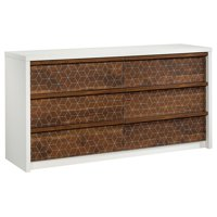 Sauder Harvey Park 6 Drawer Double Dresser In Soft White And Walnut