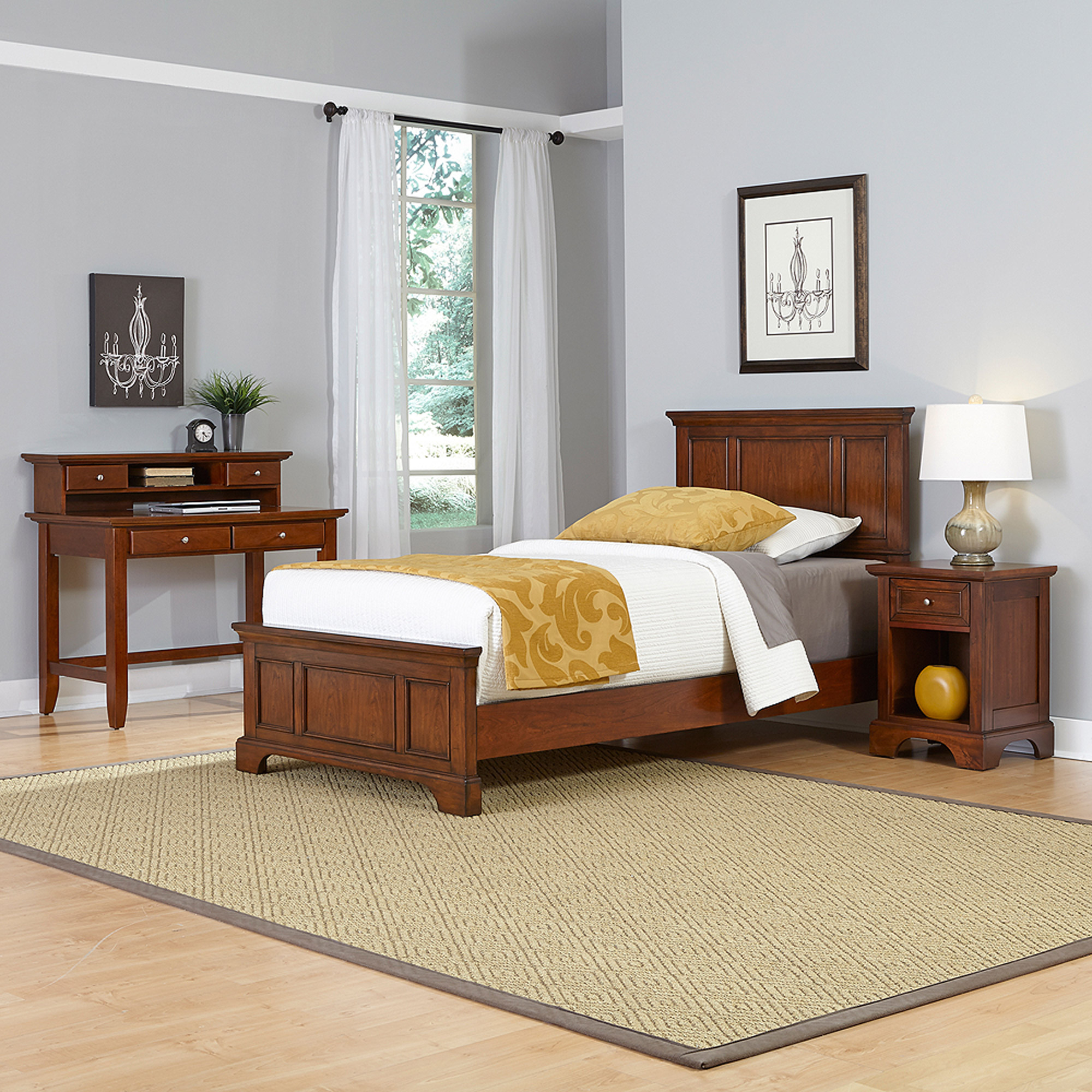 Home Styles Chesapeake Twin Bed, Night Stand and Student Desk with Hutch
