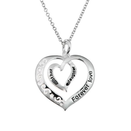 Sterling Silver Mother Daughter Forever Love Heart Dangle Charm Pendant Necklace 16