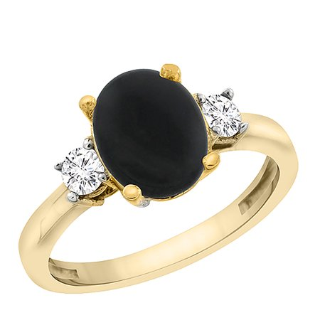 14K Yellow Gold Natural Black Onyx Ring Oval 10x8 mm Diamond Accent, sizes 5 - 10 14k Gold Oval Onyx Ring