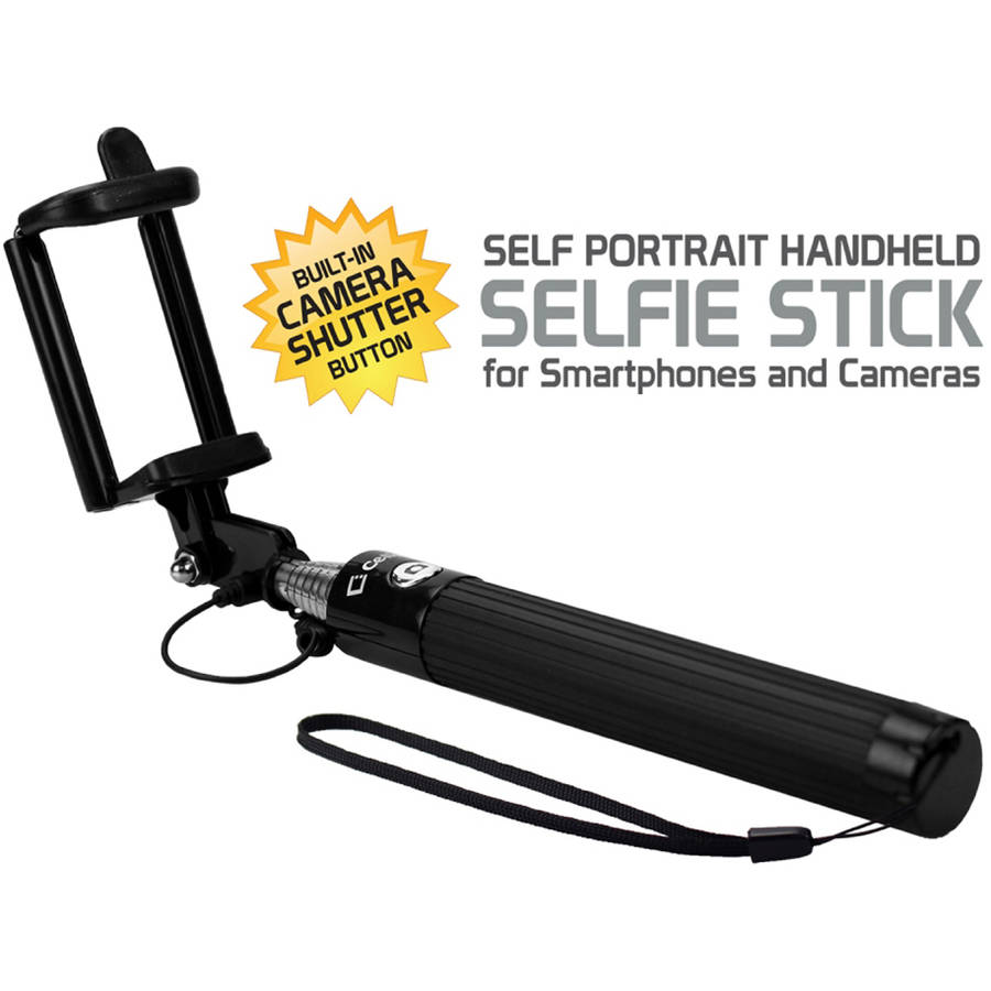 Self-Portrait Handheld Selfie Stick for Smartphones and Cameras, Black