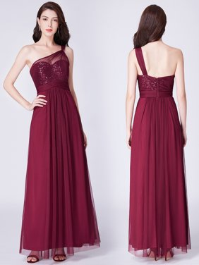 acf349fd57 Product Image Ever-Pretty Women s One Shoulder Sequins Tulle Long Formal  Evening Party Burgundy Bridesmaid Dresses for