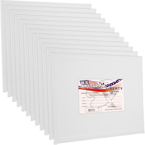 "12 Pack of U.S. Art Supply 10"" x 10"" Professional Quality Canvas Panels Acid-Free"