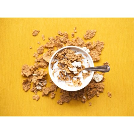 Laminated Poster Top View Of Corn Flakes In Bowl With Milk And Silver Spoon Poster Print 24 x 36