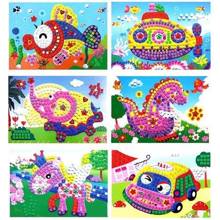 Girl12Queen Baby Kid Developmental Game 3D Mosaics Art DIY Stickers Educational Craft Toy