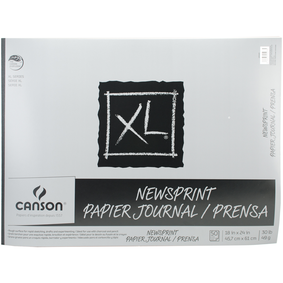 "Canson Biggie Jr. Newsprint Paper Pad 18""x24"", 50 Sheets"