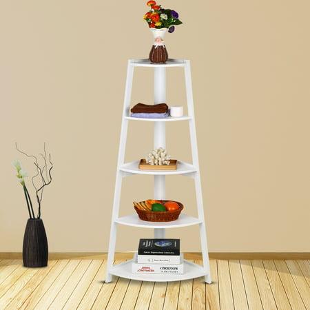 Corner Bookcase,Ymiko Wooden White Modern 5-Tier Corner Ladder Shelf Bookshelf Storage Organizer Display Rack Stand ()