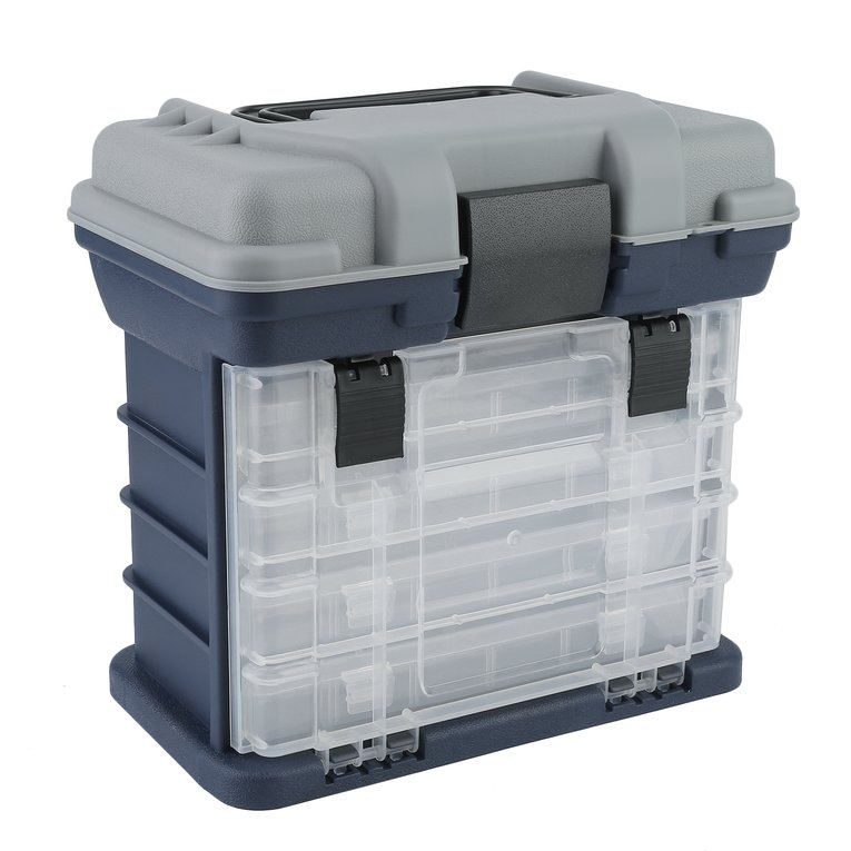 4 Layers Portable Fishing Tackle Box Bait Case Tool Organizer Lures Storage by LESHP