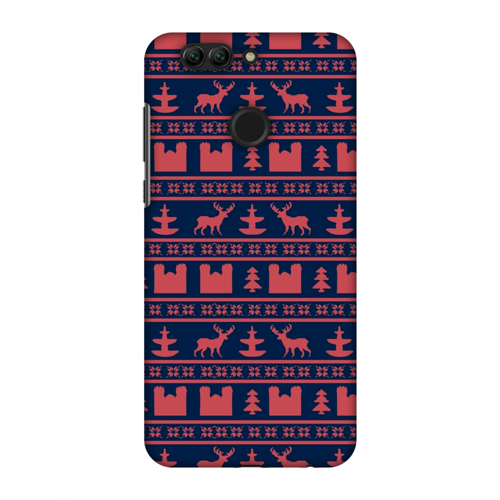 Huawei Nova 2 Plus Case, Premium Handcrafted Designer Hard Snap on Shell Case ShockProof Back Cover for Huawei Nova 2 Plus - Reindeer repeats- Midnight blue and coral