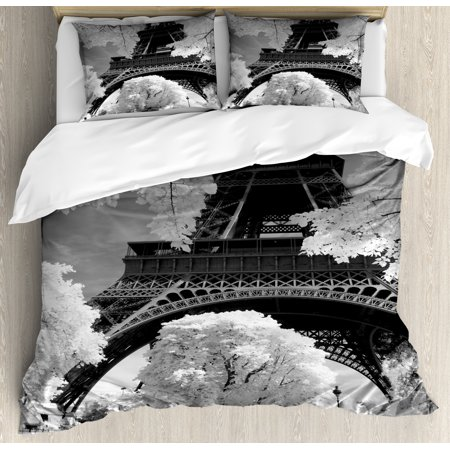 Black And White Duvet Cover Set Eiffel Tower With Blossoming Trees