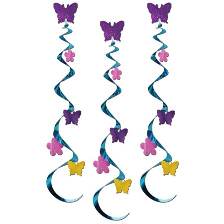 Club Pack of 18 Beautiful Spring Butterfly & Flower Whirl Decorations 30