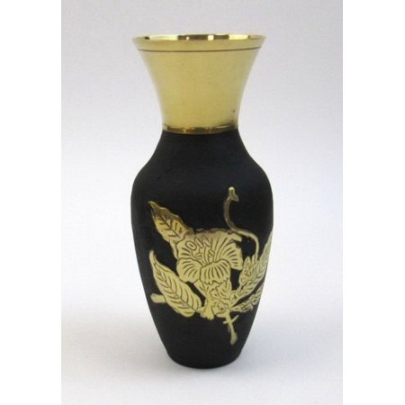 India Overseas Trading BR21877 Solid Brass Vase Black With Flower Design (Brass Flower Vase)