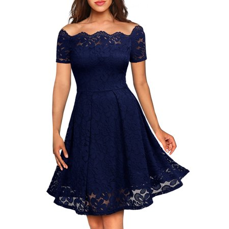 MIUSOL Women's Vintage Evening Cocktail Party Dresses for - Red Damask Dress