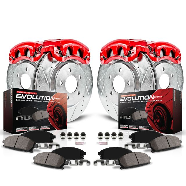 Performance Grade Loaded Powder Coated Red Calipers REAR Ceramic Brake Pads Kit CCK01414 FRONT 4