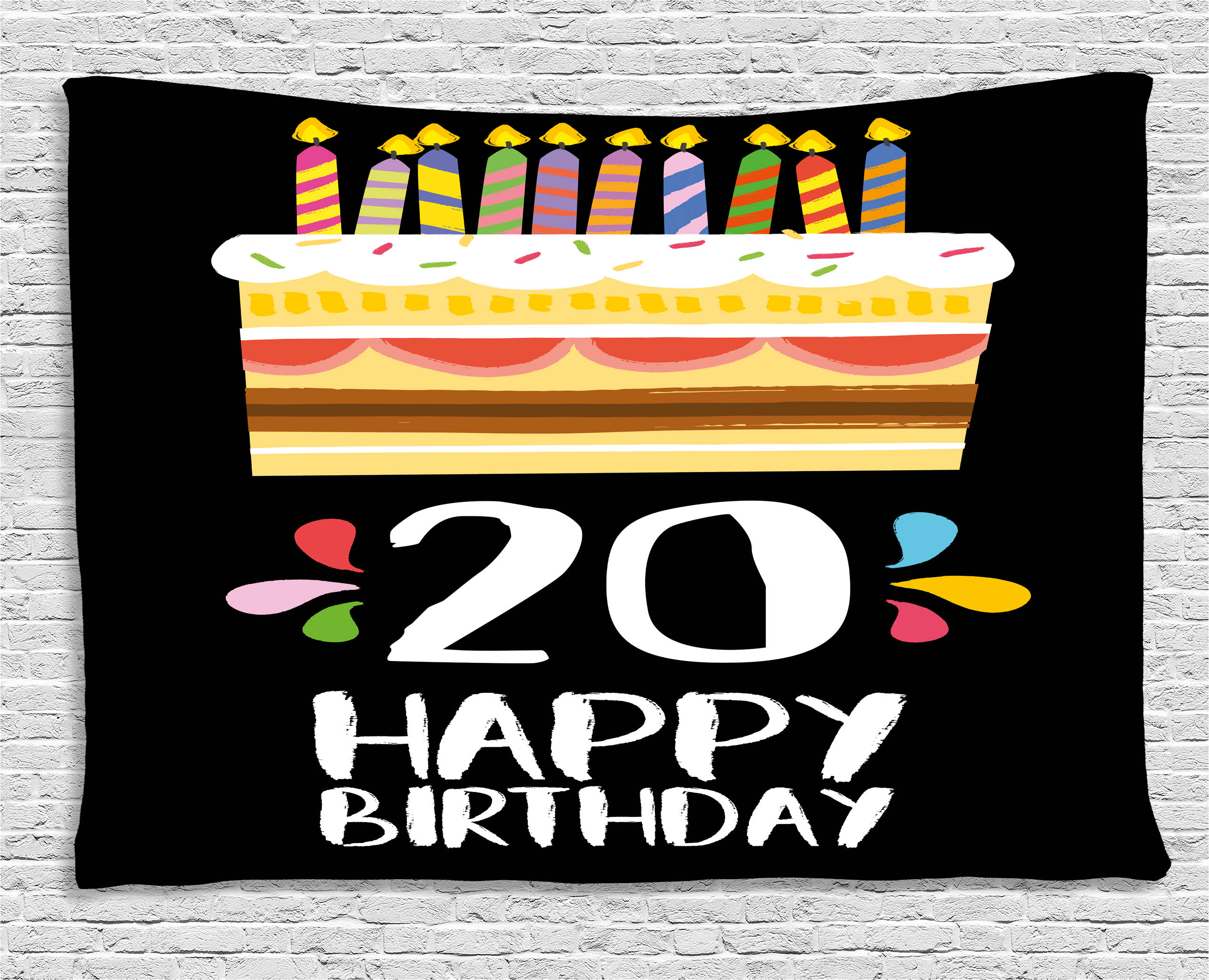 20th Birthday Decorations Tapestry Vintage Cartoon Style Party Cake With Candles On Black Backdrop