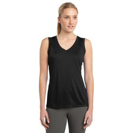 Sport-Tek LST352 Womens Sleeveless V-Neck T-Shirt - Black - - Black Sleeveless V-neck