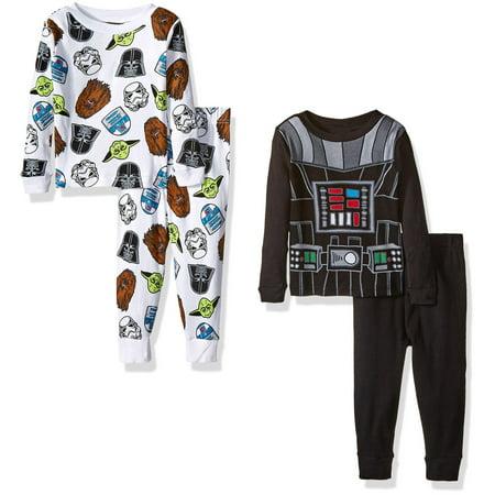 Star Wars Boys' Toddler Boys' 4-Piece Pajama Set, Black, Size: - Star Wars Footie Pajamas