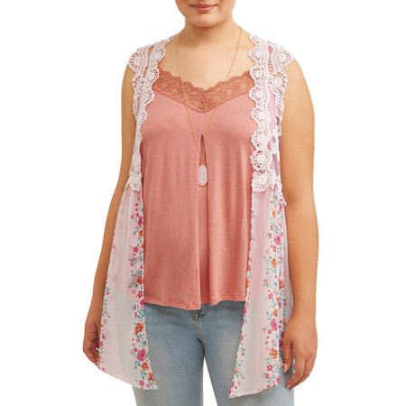 Solid Lace Pattern (Juniors' Plus Size Lace Vest and Solid Cami 2Fer with Necklace)